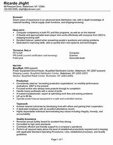 Resume for a Distribution Warehouse Worker Susan Ireland