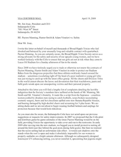Broad Ripple Trixie Society: Letter of Complaint to the