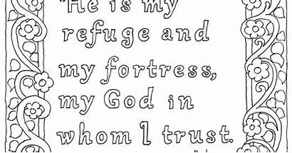 Psalm 91 Coloring Refuge Lord Bible Verse