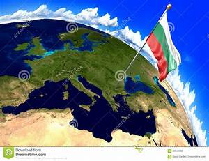 Bulgaria National Flag Marking The Country Location On ...