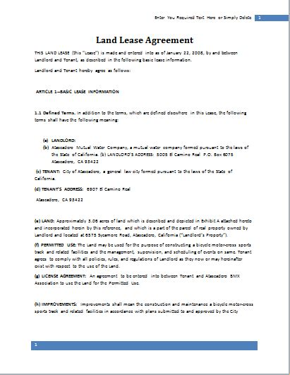 land contract template land lease agreement template for word document hub