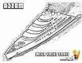 Yacht Pages Coloring Azzam Boat Ship Super Printable Boys Superyacht Boats Motor Sheet Template Yachts Cool Sheets Yescoloring Ft Ships sketch template