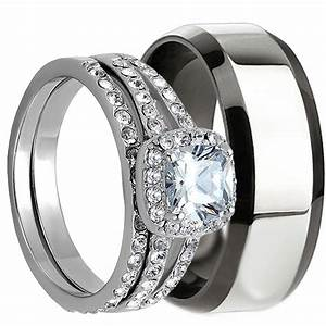 3 pcs his and hers stainless steel matching wedding bridal With matching engagement ring and wedding band