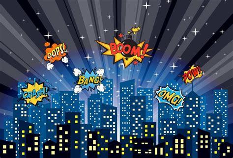 Vinyl Photography Background Superhero Cartoon Night City
