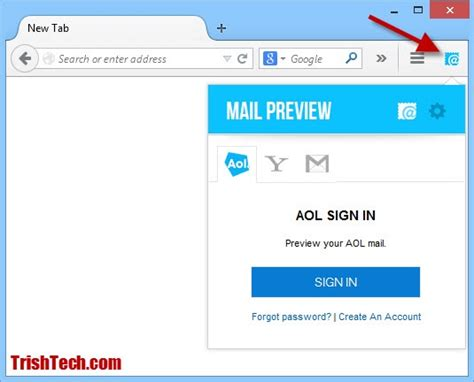 Aol Mail Preview Allows Quick Access To Aol Mail, Yahoo