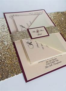 burgundy wedding invitation with glitter ribbon belly band With wedding invitation ribbon belly band diy