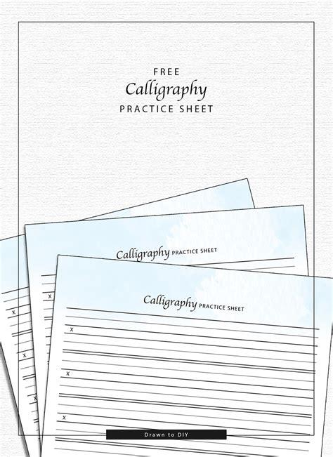 calligraphy practice sheet drawn  diy