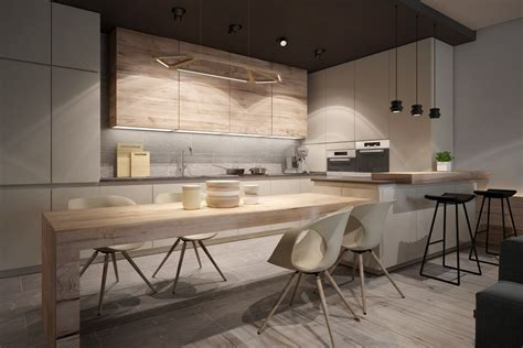 light wood kitchen a chic pair of interiors with neutral design 3764