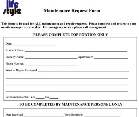 maintenance request form templates word excel