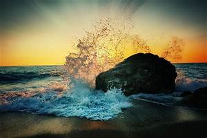 Waves, Nature, Rock, Sun, Rays, Photography, Sunset, Water, Wallpapers, Hd, Desktop, And, Mobile