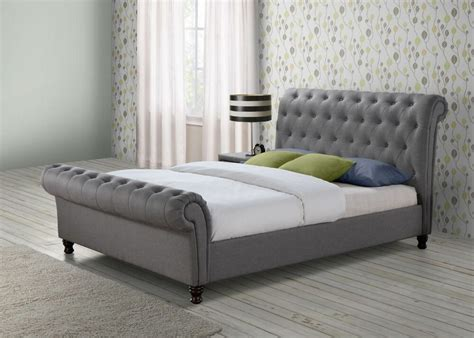 Fabric King Bed Frame by Chesterfield Sleigh Grey Fabric 6ft 180cm