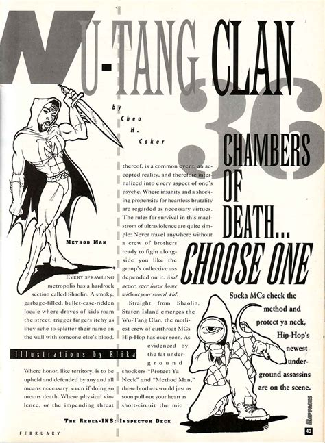 36 chambers of death… choose one wu tang in rap pages 1994 press rewind if i haven t
