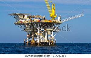 Large Pacific Ocean Offshore Oil Rig Stock Photo 117293284 ...