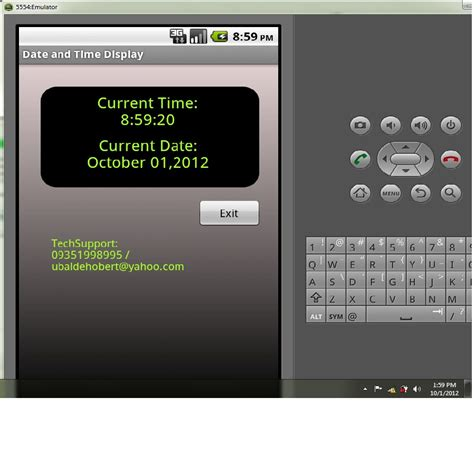 display current date time demo android source code