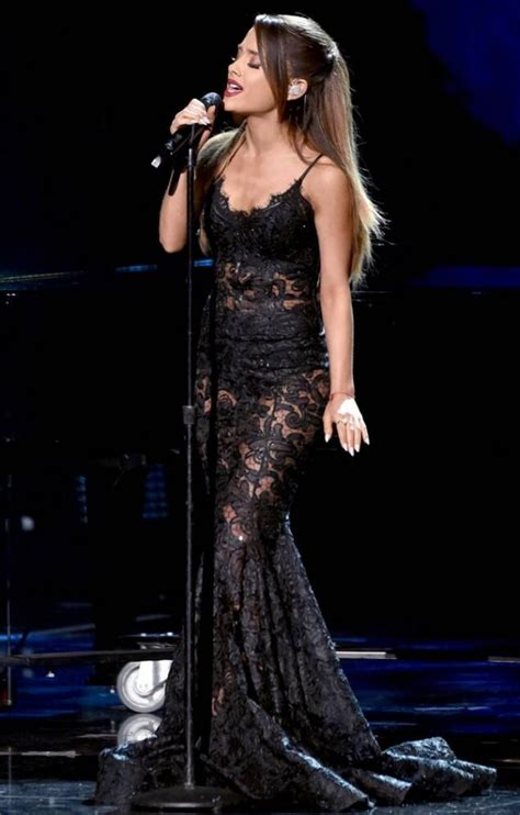 ariana grande black lace sheer celebrity prom dress