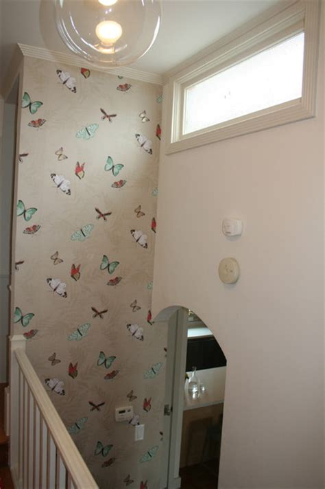 butterfly wallpaper eclectic hall san francisco