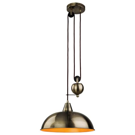 retro antique brass rise fall ceiling pendant