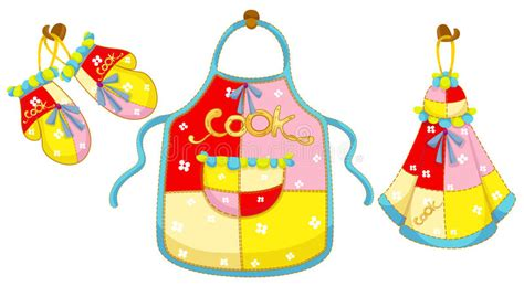 Kitchen Glove And Apron And Hand Towel Stock Vector