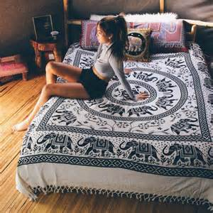 Boho Indie Bedroom Ideas by Large Black And White Elephant Mandala Tapestry Bedding