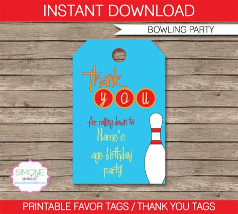 bowling party favor tags   tags birthday party