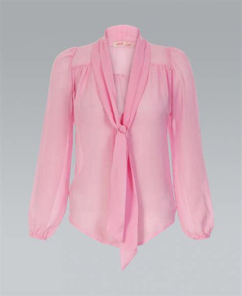 pink blouses krisp basics bow chiffon pink blouse krisp