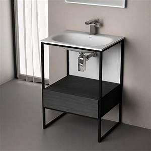 Meuble Salle De Bain Metal : meuble salle de bain noir de 60 120 cm frame ~ Teatrodelosmanantiales.com Idées de Décoration