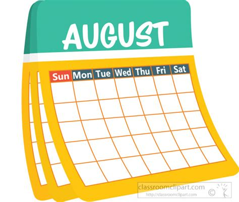 August Clip Monthly Calendar Clipart Month Printable Calendar