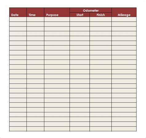 sample mileage log templates