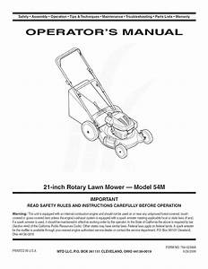 Mtd 11a 54mb055 User Manual Lawn Mower Manuals And Guides