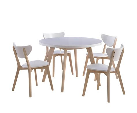 Dakota White Wash Round Table And Chairs