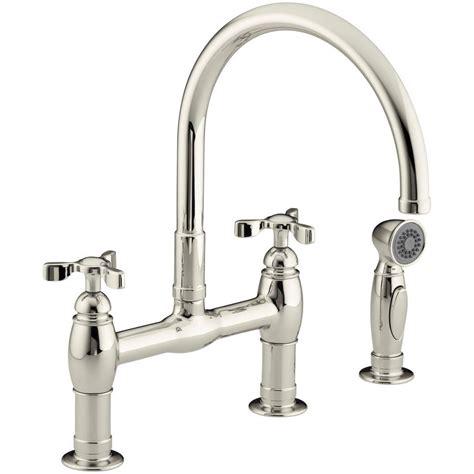 bridge kitchen faucet with side spray kohler parq 2 handle bridge kitchen faucet with side