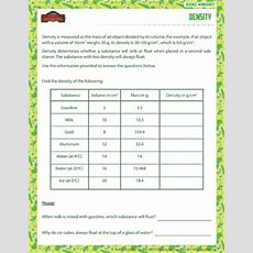 Density  Physical Science Worksheet For Grade 6  School Of Dragons