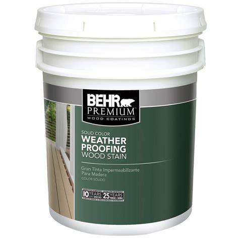 behr premium  gal white solid color weatherproofing
