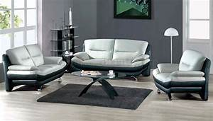 Two toned grey black leather 7068 contemporary living room for Gray living room chairs