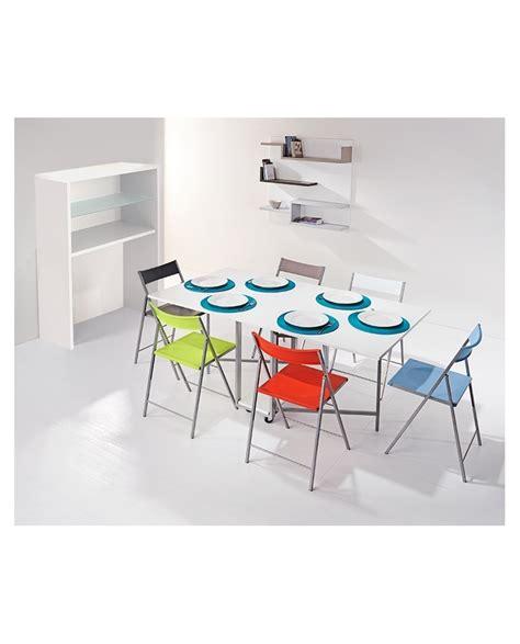 table avec chaises intégrées console avec table à rabats et 6 chaises pliantes