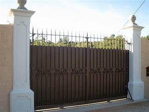 Portail Fer Forgé Plein : portail coulissant en fer plein a nans les pins ~ Dailycaller-alerts.com Idées de Décoration