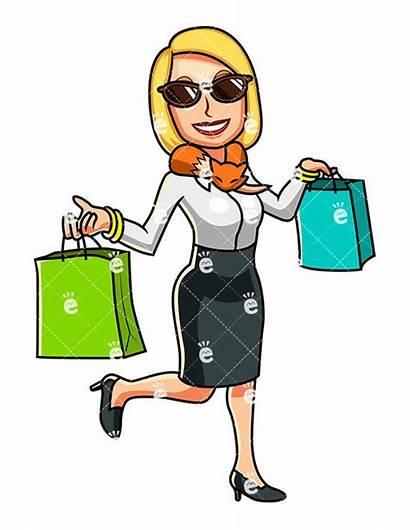Shopping Clipart Woman Wealthy Cartoon Done Friendlystock