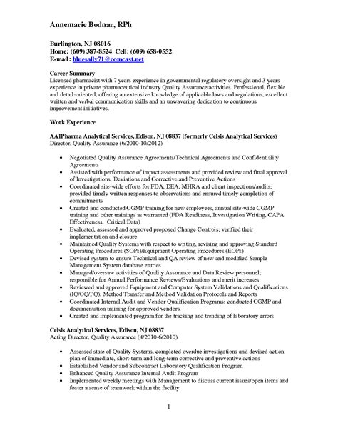 resume exles for career objective resume for qc manager in pharma ebook database