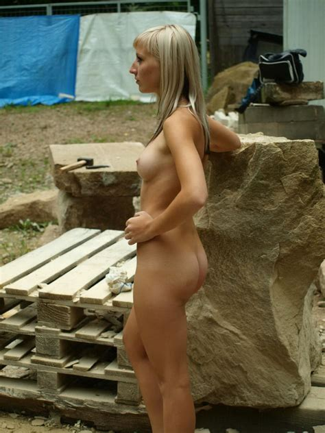 Lovely Russian Blonde Teen Wit Sporty Body Posing Naked