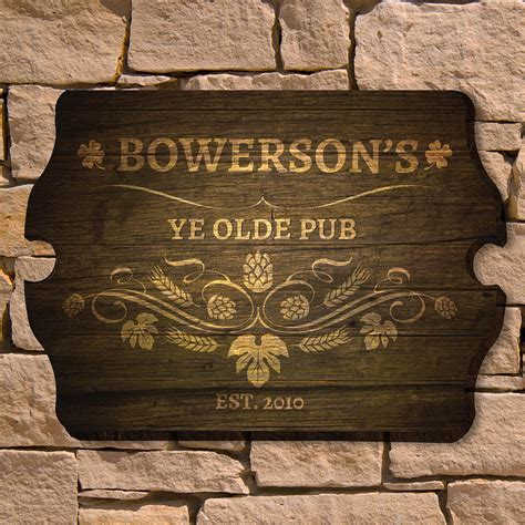 Ye Olde Pub Personalized Bar Sign. Ends Signs. Necrosis Signs. Airborne Signs. Hostpital Signs. Indoor Signs. Coffee Drinker Signs. Beach Hawaiian Signs. K53 Signs