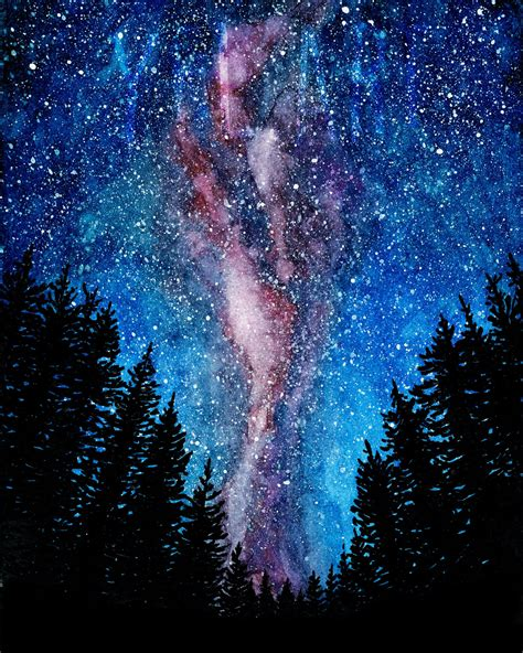 Galaxy Painting Watercolor Milky Way Treescape