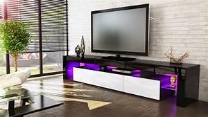 Meuble Tv Noir : meuble tv led noir et blanc solutions pour la d coration int rieure de votre maison ~ Teatrodelosmanantiales.com Idées de Décoration