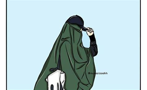 gambar kartun muslimah bercadar  berkacamata khazanah