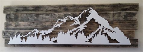 Classic Metal And Wood Mountain Scene Wall Art Decor