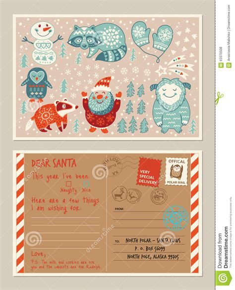 christmas holiday post card  envelope  cute stamps