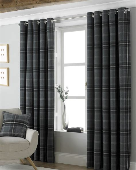 Tartan Plaid Drapes - heavy heavy weight tartan plaid grey eyelet heading