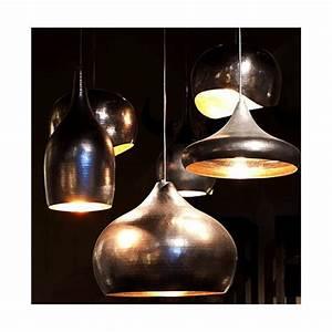 Suspension Noir Et Cuivre : suspension luminaire lampe moderne actuelle contemporaine cuivre martel couleur noir ~ Teatrodelosmanantiales.com Idées de Décoration
