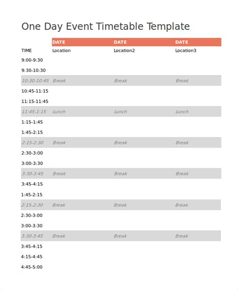 7+ Event Timetable Templates