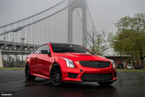 red chrome vinyl wrapped cadillac ats v forgestar f10d