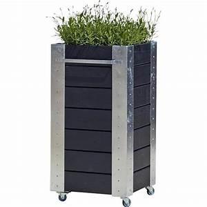 Jardiniere Sur Roulette : cubic jardini re design carr sur roulettes 46x50x95cm bois noir gris vert ~ Farleysfitness.com Idées de Décoration